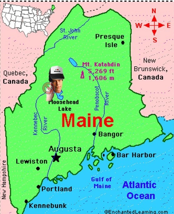 If you look closely, you'll notice Moosehead Lake eerily resembles Stephen King giving Portland Oregon the finger.