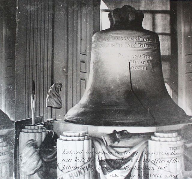 """Liberty Bell 1872 - crop"" by Digitized by WehwaltNot known. Copyrighted 1872 - File:Liberty Bell 1872.jpgIndependence National Historic Park Library and Archives, Philadelphia PA. Licensed under Public Domain via Wikimedia Commons -"